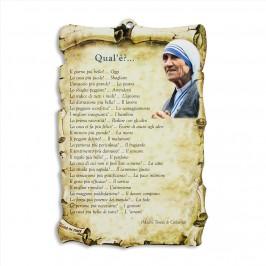 Quadretto con Preghiera di Madre Teresa di Calcutta