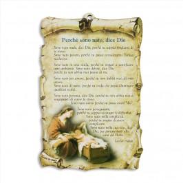 Quadretto con Preghiera Perchè sono nato dice Dio