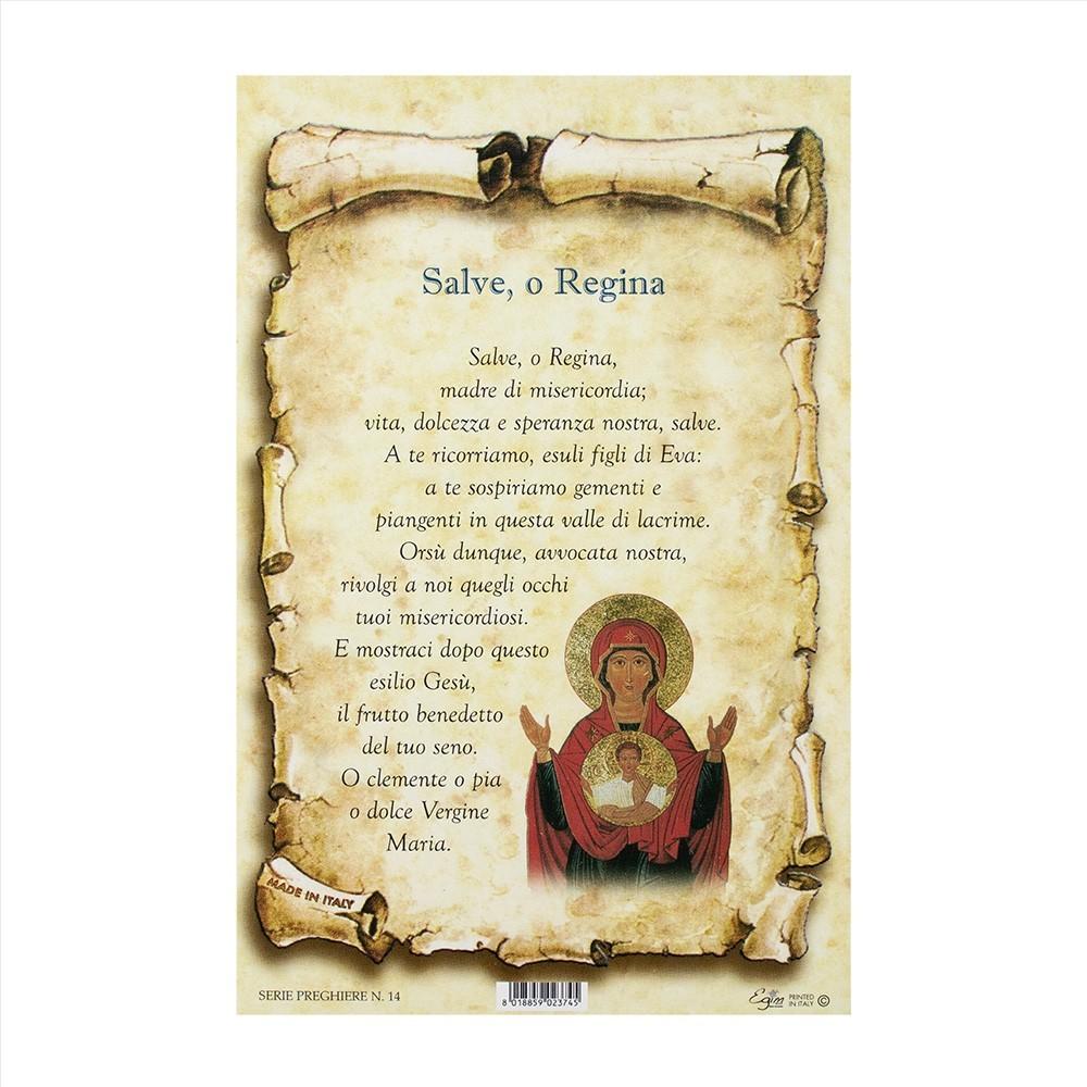 Cartoncino con Preghiera Salve o Regina
