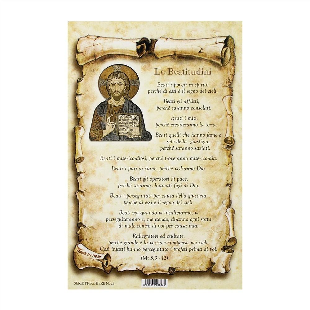 Cartoncino Preghiera Le Beatitudini
