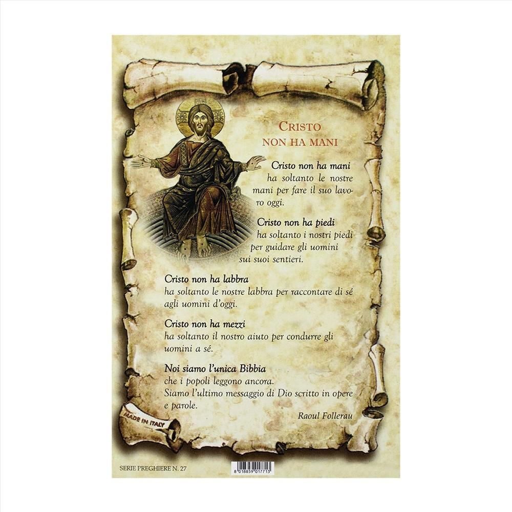 Cartoncino Preghiera Cristo non ha Mani