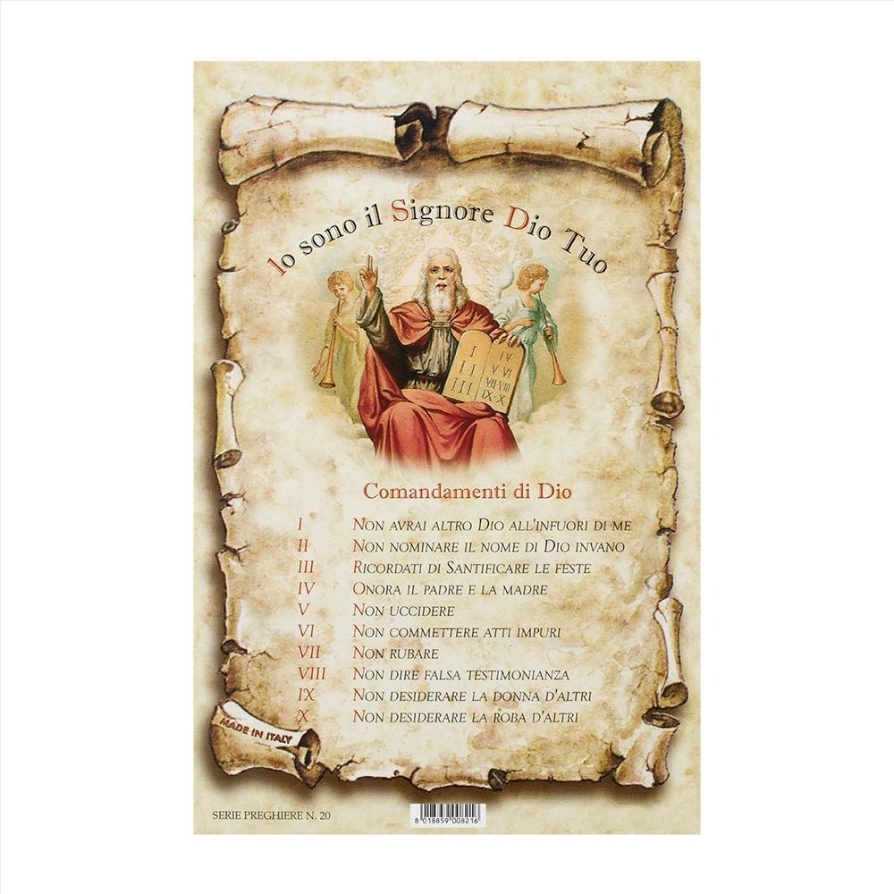 Cartoncini con i Dieci Comandamenti