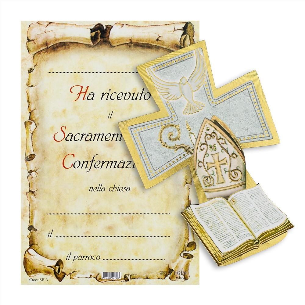 Croce Ricordo Cresima con Pergamena