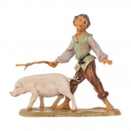 Statua Pastore con Maiale Fontanini