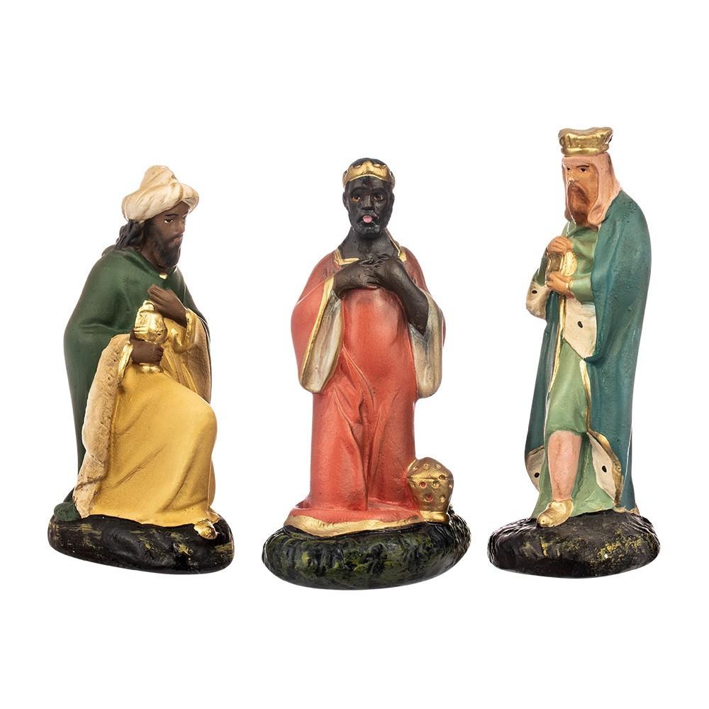 Tre re magi per il presepe in gesso 15 cm
