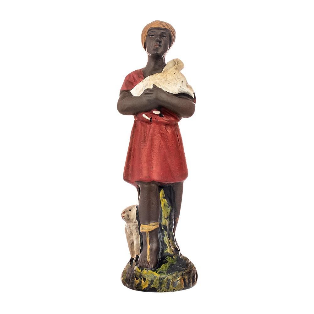 Pastore Nero con Pecora in Gesso 15 cm