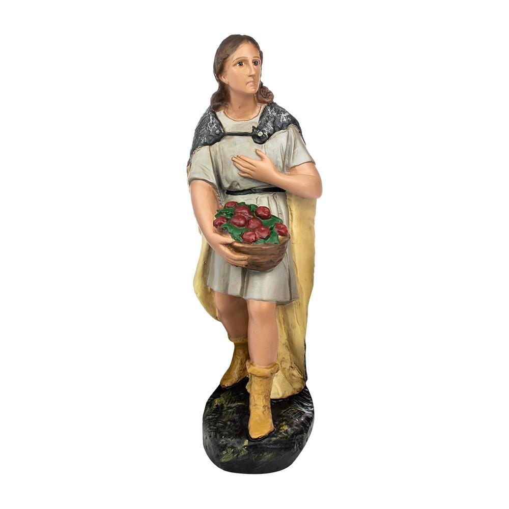Statua Pastore con frutta 40 cm in Gesso