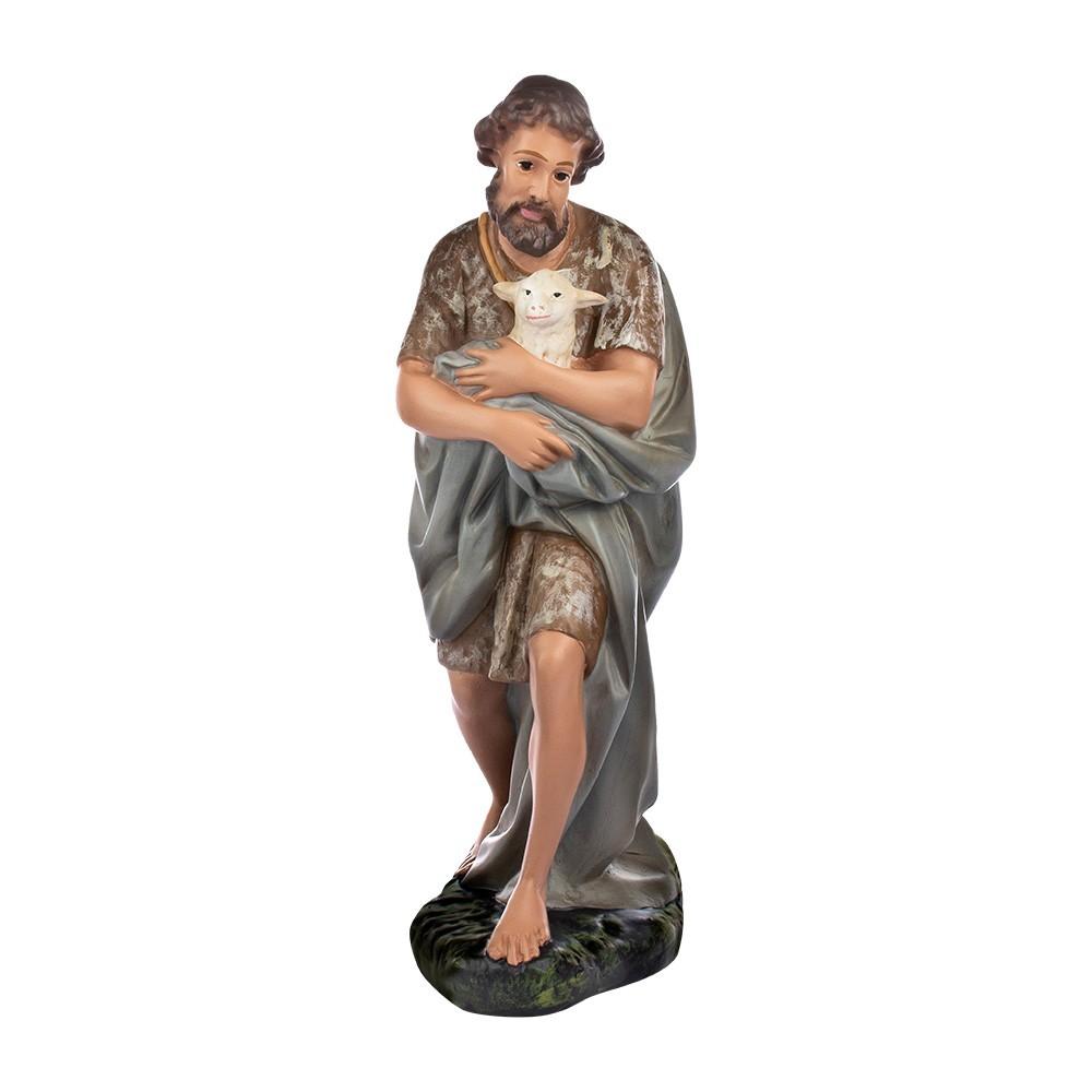 Pastore con Pecorella 40 cm in Gesso