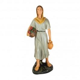 Statua Pastorella con Cesto 60 cm in Gesso