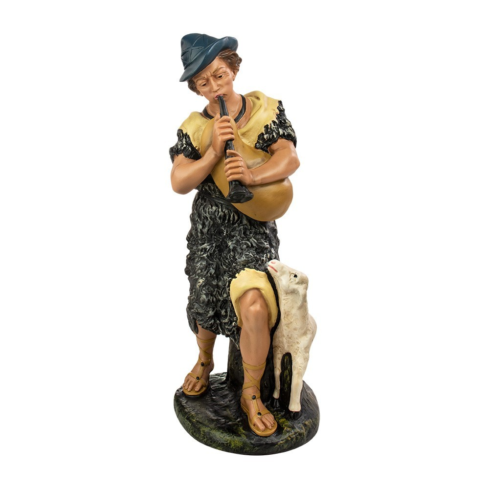 Pastore con Flauto e Pecora 60 cm Gesso
