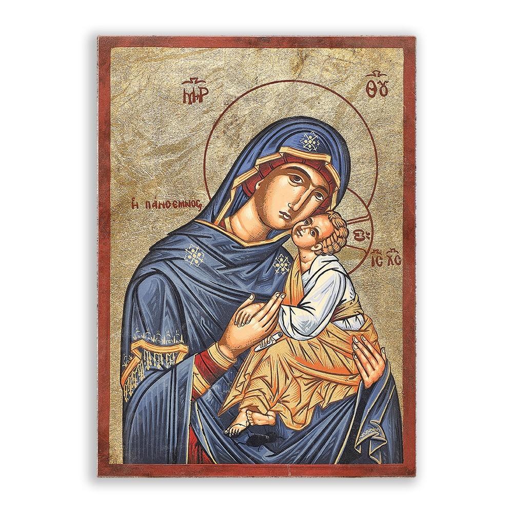 Icona Madonna con Bambino h 19 cm