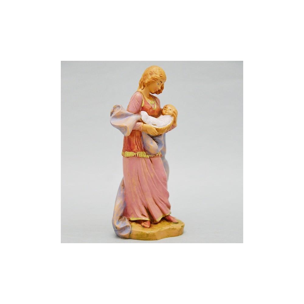 Statua Pastorella che Culla Bimbo Fontanini